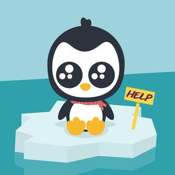 Pingüino pidiendo ayuda