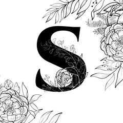 Flower alphabet letter S pattern