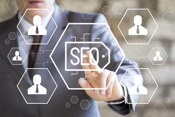 Businessman presses button business on virtual digital electronic user interface internet