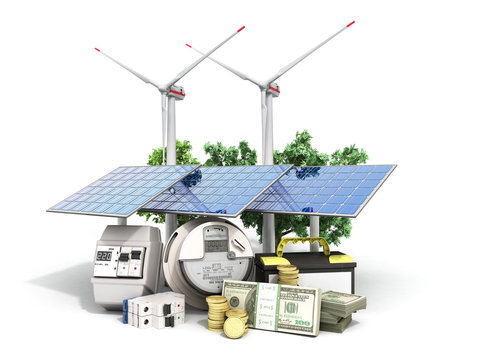 concept of energy saving solar panels and a windmill near the meter of electricity 3d render on white