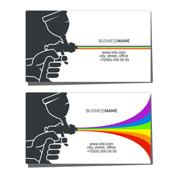 Business card for spray painting