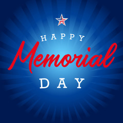 Happy Memorial day star and blue beams banner. Memorial Day lettering vector template in with text on blue striped background