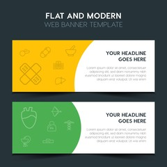 health, sports Flat Design Concept with outline icons. Modern Vector Web Banners