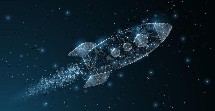 Rocket. Polygonal wireframe mesh art. Business startup, astronomy, innovation concept illustration or background