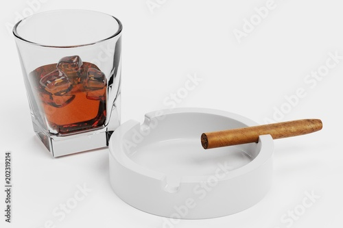 3d Render Of Cigar And Whiskey