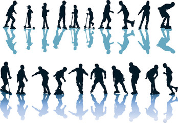 people black silhouettes on roller skates with shadows
