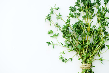 Bouquet of fresh thyme twigs on white background with copy space