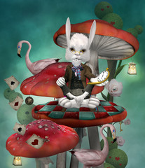 Wonderland series - White rabbit with open clock sits on a mushroom