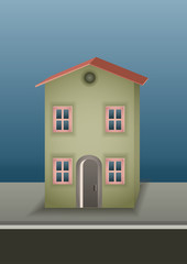 Lonely small old house with two floors. Vector illustration