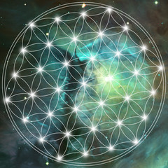 Sacred geometry - flower of life on the spacy background