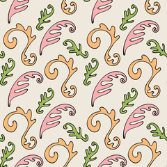 Colorful abstract seamless pattern with organic shapes, curls, leaves. Vector illustration.