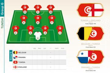 Tunisia football team infographic for football tournament.