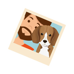 photo of man with dog vector illustration design