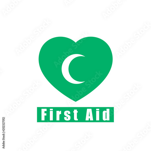 first aid vector icon green moon icon for app and website