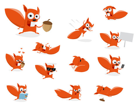 funny cartoon squirrel clipart collection