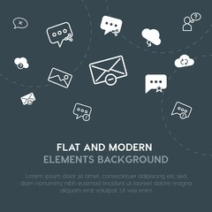 cloud and networking, chat and messenger, email outline, fill vector icons and elements background concept on dark background.Multipurpose use on websites, presentations, brochures and more.