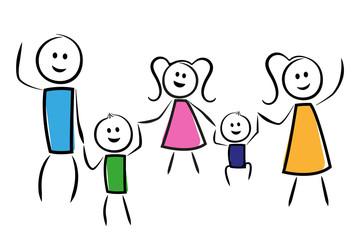 Familie springt Hand in Hand in die Luft