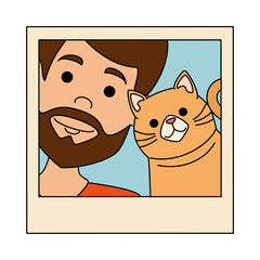 photo of man with cat vector illustration design