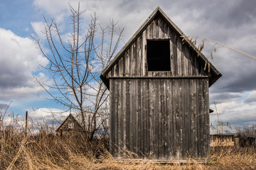 old wooden barn in meadow at sunny autumn day