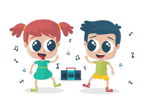 Niño y niña bailando