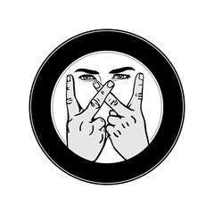 letter W hand gesture outline vector image. Illustration of hands making a w