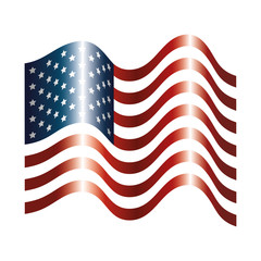united states of america flag with waves vector illustration design