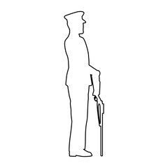 military in ceremony with rifle silhouette vector illustration design