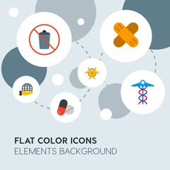 health, science, nature flat vector icons and elements background with circle bubbles networks.Multipurpose use on websites, presentations, brochures and more