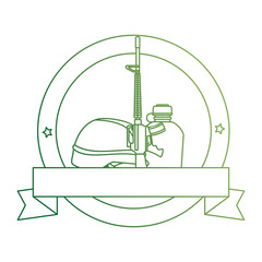 rifle war with helmet and canteen emblem vector illustration design