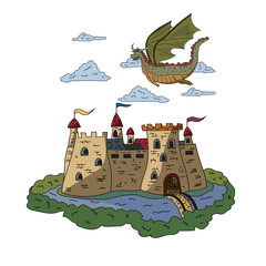 A fairy dragon flying over an ancient castle. Vector drawing.