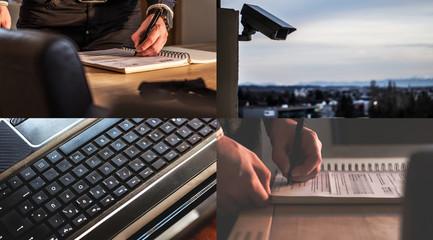 Collage (Kamera/Tastatur/Bürokratie)