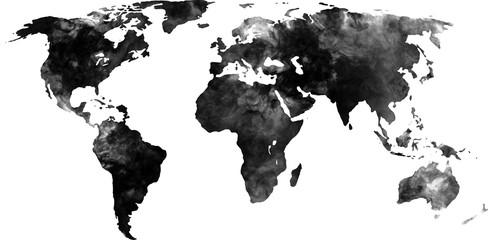 The world map looks like smoke