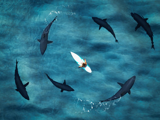 surfer surrounded from six sharks. drone view. 3d rendering