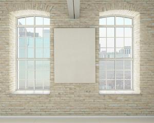 Modern light bright interiors 3D rendering image
