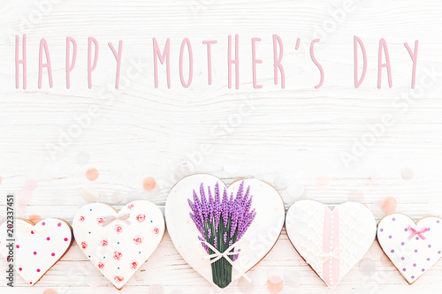 happy mother's day text on cookie hearts with lavender on