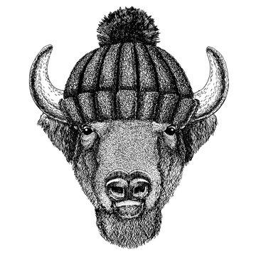 Buffalo, bison,ox, bull Cool animal wearing knitted winter hat. Warm headdress beanie Christmas cap for tattoo, t-shirt, emblem, badge, logo, patch