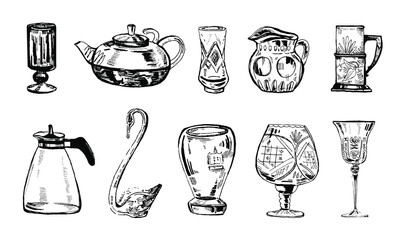 Vector hand drawn ink set of glass vases, tea pots and glasses on white background
