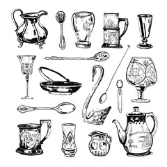Vector hand drawn ink set of antique glass and metall dishes, glasses and spoons on white background
