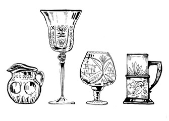 Hand drawn ink set of wineglasses and glass utensils