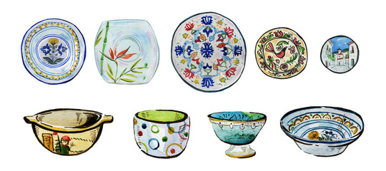 Hand drawn watercolor illustration set of ornamented ceramic plates, bowls and dishes
