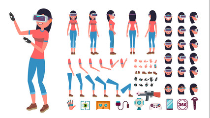 Woman In Virtual Reality Headset Vector. Animated Character Creation Set. 3D VR Glasses. Full Length, Front, Side, Back View, Accessories, Poses, Emotions, Gestures. Virtual Reality Flat Illustration