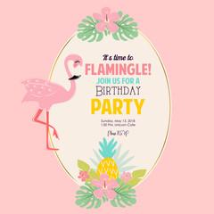 Cute flamingo birthday party invite