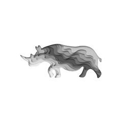 Paper cut rhinoceros, safari animals shape 3D origami. Trendy concept fashion design. Vector illustration