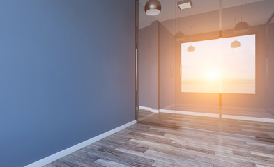 Modern Empty  office Cabinet.. Sunset