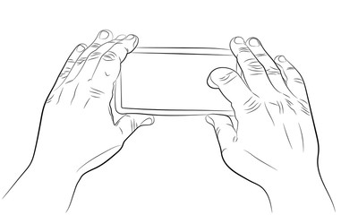 Hands holding smartphone and recording video vector drawing
