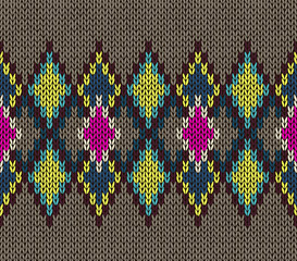 Seamless Knitted Pattern. Fashionable youth modern style