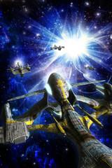Wall Mural - alien spaceship swarm