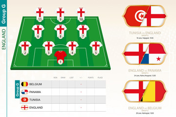 England football team infographic for football tournament.