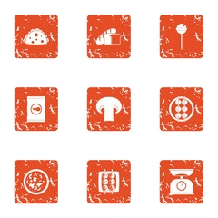 Proportion of food icons set. Grunge set of 9 proportion of food vector icons for web isolated on white background
