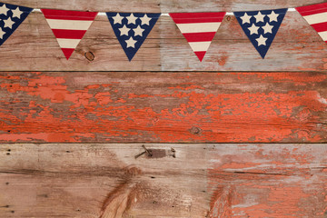 Patriotic bunting with stars and stripes of USA